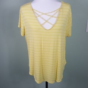 Rue21 Yellow Stripped Crisscross V-Neck XL Yellow